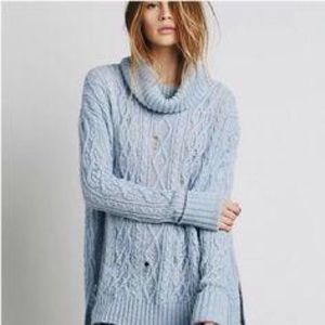 Free People Complex Wool Sweater Cable Knit Blue